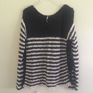 Free People Striped Knit Sweater L